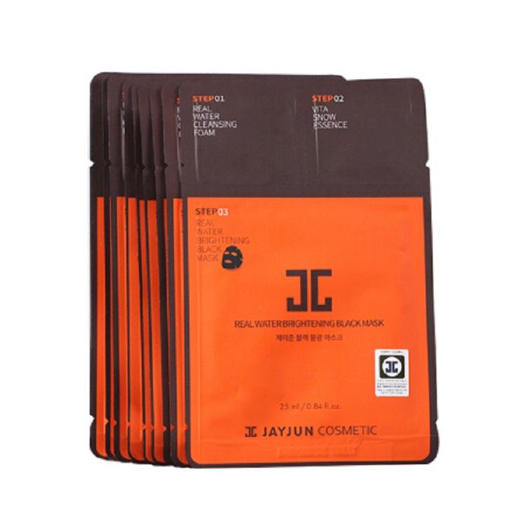 韩国JAYJUN黑色水光三部曲面膜橙盒10片装
