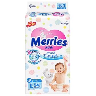 Merries日本花王妙而舒纸尿裤L54片 (适用体重9-14kg)