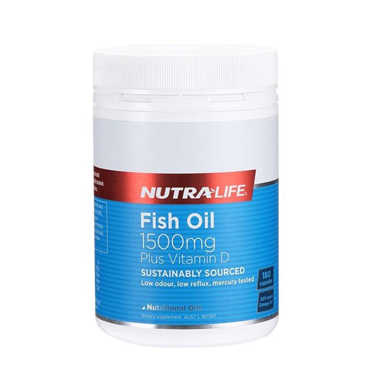 新西兰 Nutra-Life/纽乐 深海鱼油1500mg+维生素D 180粒