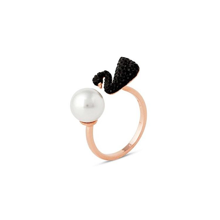 SWAROVSKI 施华洛世奇黑天鹅珍珠开口戒指 尺码50